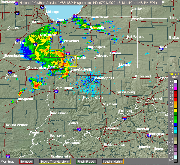 Radar Image for Severe Thunderstorms near Oxford, IN at 7/21/2020 1:52 PM EDT