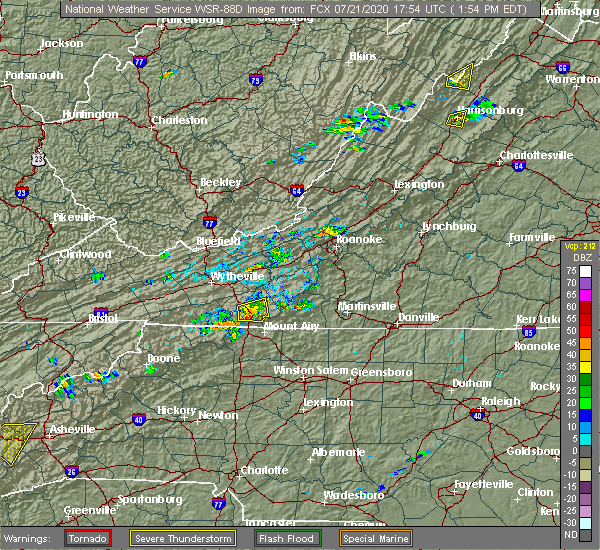 Radar Image for Severe Thunderstorms near Woodlawn, VA at 7/21/2020 2:00 PM EDT