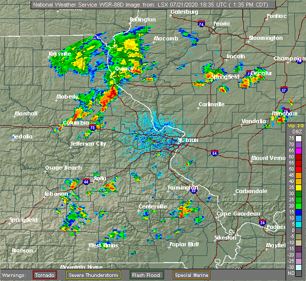 Radar Image for Severe Thunderstorms near New London, MO at 7/21/2020 1:39 PM CDT