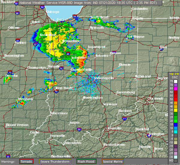 Radar Image for Severe Thunderstorms near Frankfort, IN at 7/21/2020 2:41 PM EDT