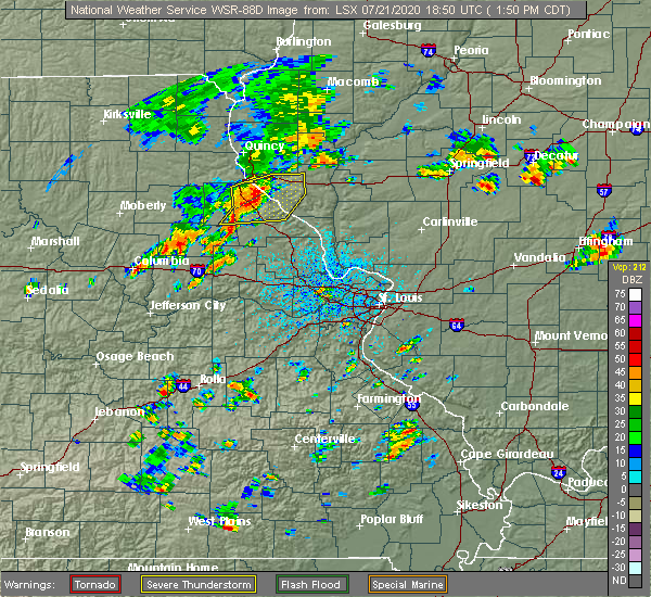 Radar Image for Severe Thunderstorms near New London, MO at 7/21/2020 1:53 PM CDT