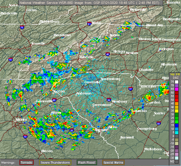 Radar Image for Severe Thunderstorms near Lincolnton, GA at 7/21/2020 2:54 PM EDT