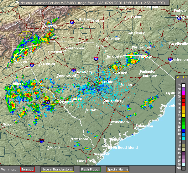 Radar Image for Severe Thunderstorms near Kershaw, SC at 7/21/2020 2:58 PM EDT