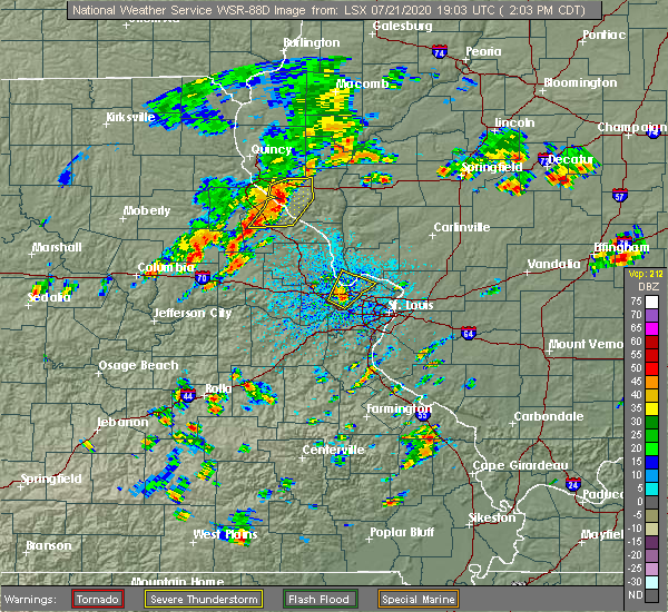 Radar Image for Severe Thunderstorms near Chesterfield, MO at 7/21/2020 2:11 PM CDT