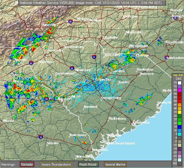 Radar Image for Severe Thunderstorms near Kershaw, SC at 7/21/2020 3:11 PM EDT
