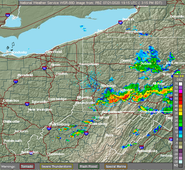 Radar Image for Severe Thunderstorms near Pleasantville, PA at 7/21/2020 3:21 PM EDT