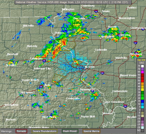 Radar Image for Severe Thunderstorms near St. Peters, MO at 7/21/2020 2:22 PM CDT
