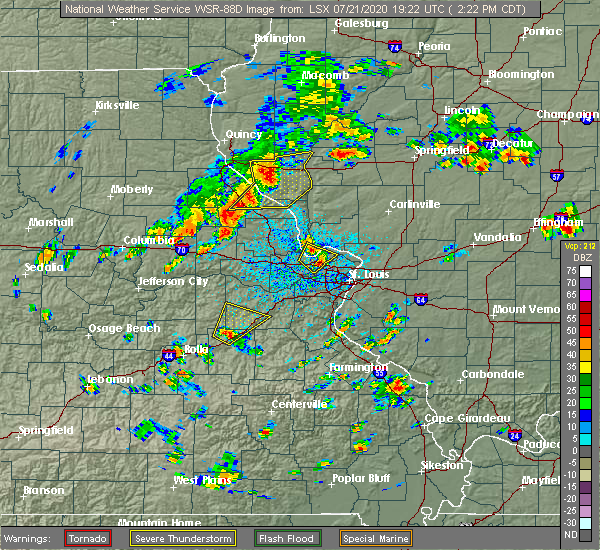 Radar Image for Severe Thunderstorms near Pearl, IL at 7/21/2020 2:29 PM CDT
