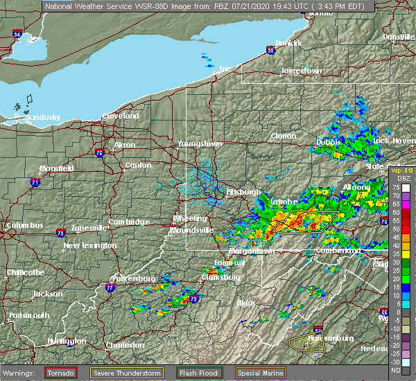 Radar Image for Severe Thunderstorms near Confluence, PA at 7/21/2020 3:50 PM EDT