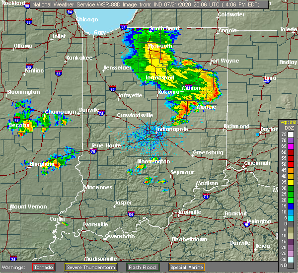 Radar Image for Severe Thunderstorms near Muncie, IN at 7/21/2020 4:12 PM EDT