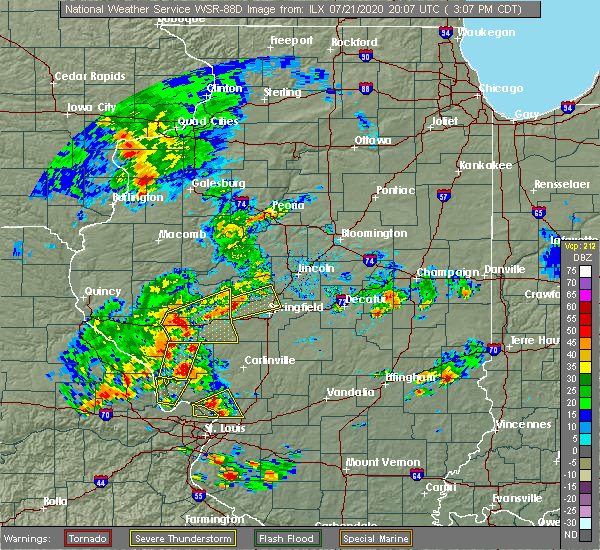 Radar Image for Severe Thunderstorms near Sherman, IL at 7/21/2020 3:15 PM CDT