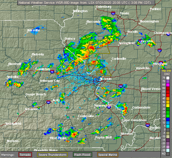 Radar Image for Severe Thunderstorms near Edwardsville, IL at 7/21/2020 3:19 PM CDT