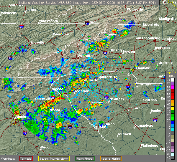 Radar Image for Severe Thunderstorms near Crossnore, NC at 7/21/2020 4:23 PM EDT