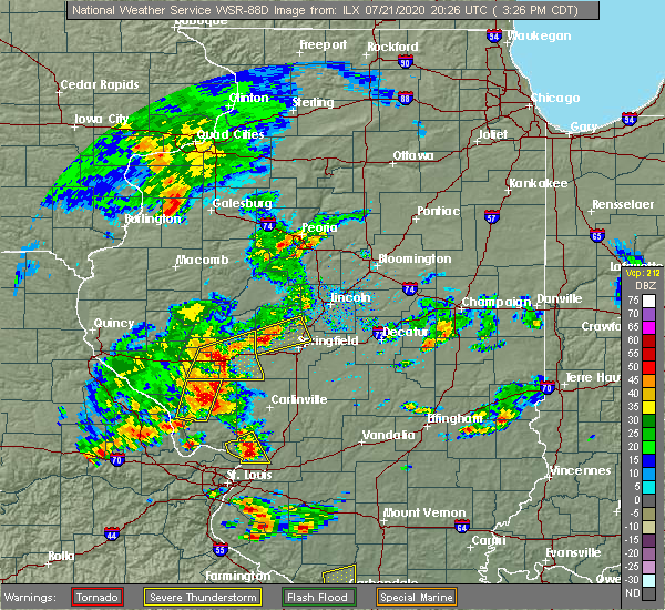 Radar Image for Severe Thunderstorms near Sherman, IL at 7/21/2020 3:31 PM CDT