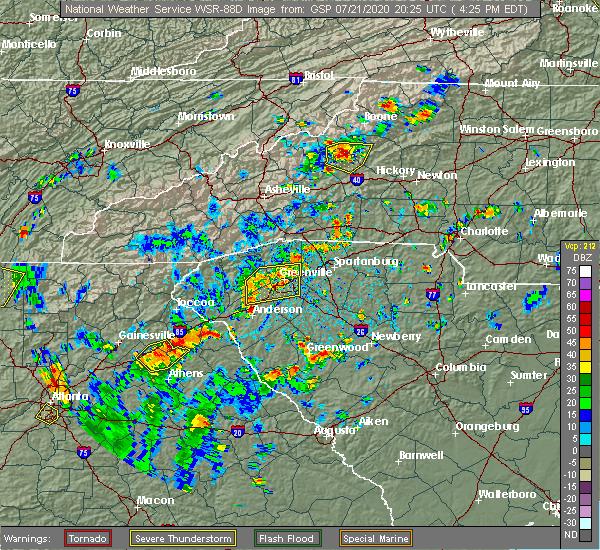 Radar Image for Severe Thunderstorms near Reidville, SC at 7/21/2020 4:32 PM EDT
