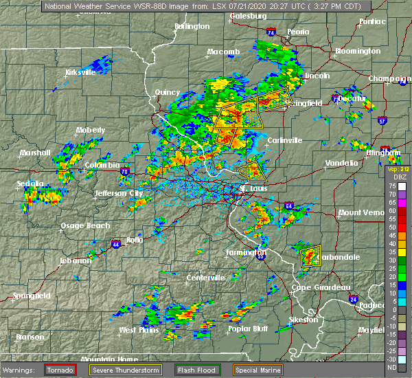 Radar Image for Severe Thunderstorms near East Alton, IL at 7/21/2020 3:33 PM CDT