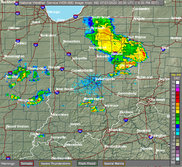 Radar Image for Severe Thunderstorms near Muncie, IN at 7/21/2020 4:34 PM EDT