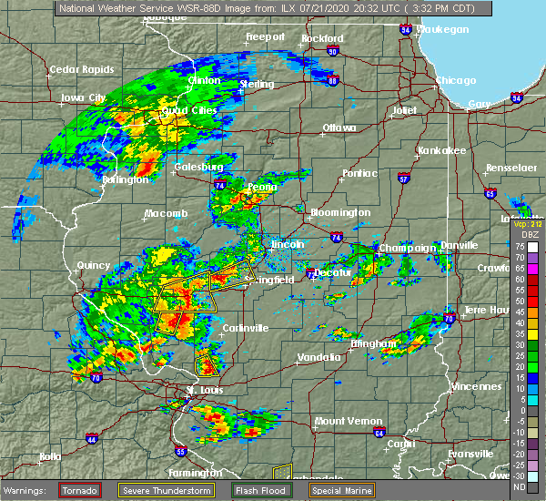 Radar Image for Severe Thunderstorms near Franklin, IL at 7/21/2020 3:35 PM CDT
