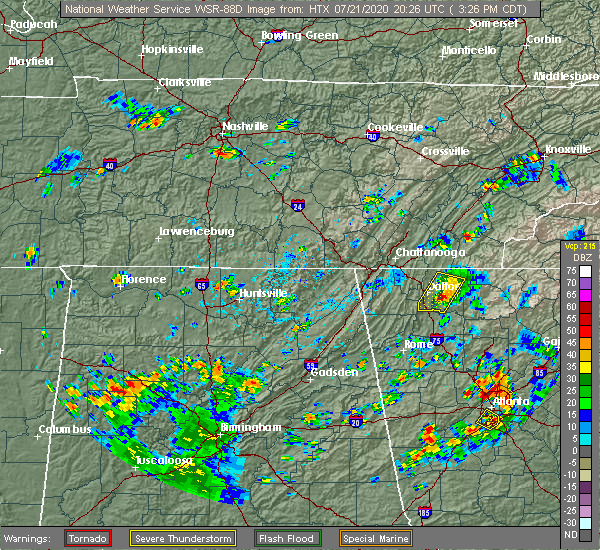 Radar Image for Severe Thunderstorms near Guntersville, AL at 7/21/2020 3:41 PM CDT