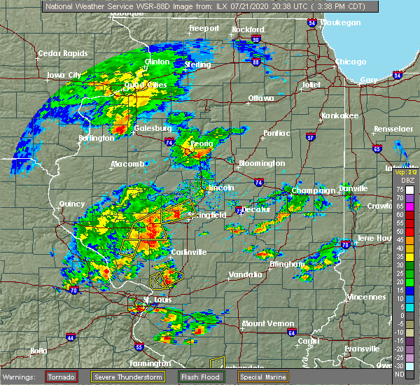 Radar Image for Severe Thunderstorms near Sherman, IL at 7/21/2020 3:48 PM CDT