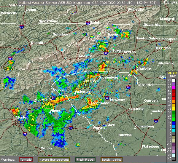 Radar Image for Severe Thunderstorms near Reidville, SC at 7/21/2020 4:55 PM EDT