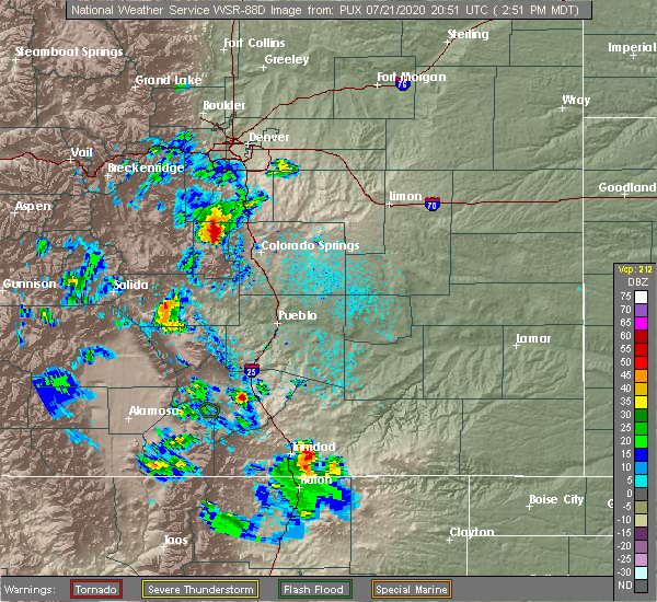 Radar Image for Severe Thunderstorms near Colorado Springs, CO at 7/21/2020 2:57 PM MDT