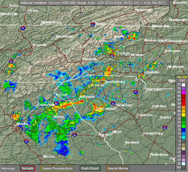 Radar Image for Severe Thunderstorms near Cokesbury, SC at 7/21/2020 5:01 PM EDT
