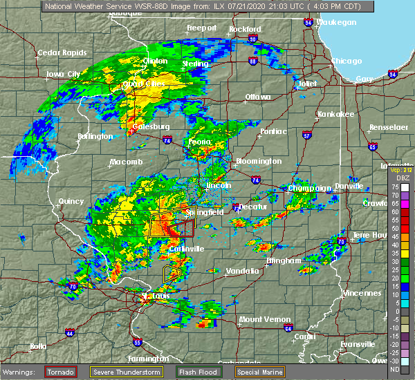 Radar Image for Severe Thunderstorms near Rochester, IL at 7/21/2020 4:06 PM CDT