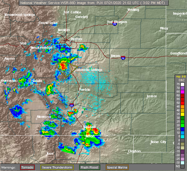 Radar Image for Severe Thunderstorms near Colorado Springs, CO at 7/21/2020 3:08 PM MDT