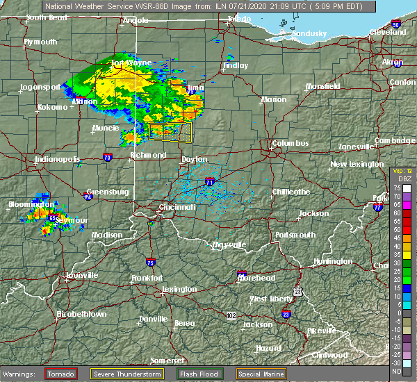 Radar Image for Severe Thunderstorms near Piqua, OH at 7/21/2020 5:19 PM EDT