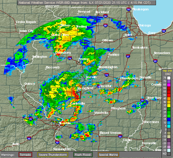 Radar Image for Severe Thunderstorms near Rochester, IL at 7/21/2020 4:21 PM CDT