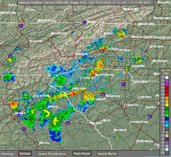 Radar Image for Severe Thunderstorms near Lenoir, NC at 7/21/2020 5:21 PM EDT