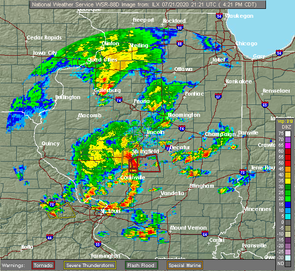 Radar Image for Severe Thunderstorms near Rochester, IL at 7/21/2020 4:30 PM CDT