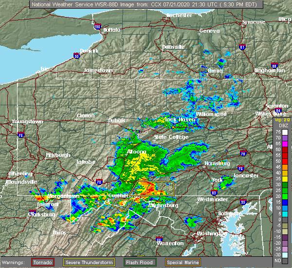 Radar Image for Severe Thunderstorms near Cashtown, PA at 7/21/2020 5:44 PM EDT