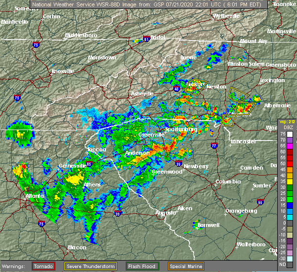Radar Image for Severe Thunderstorms near Charlotte, NC at 7/21/2020 6:06 PM EDT