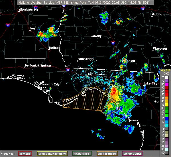 Radar Image for Severe Thunderstorms near St. Marks, FL at 7/21/2020 6:09 PM EDT