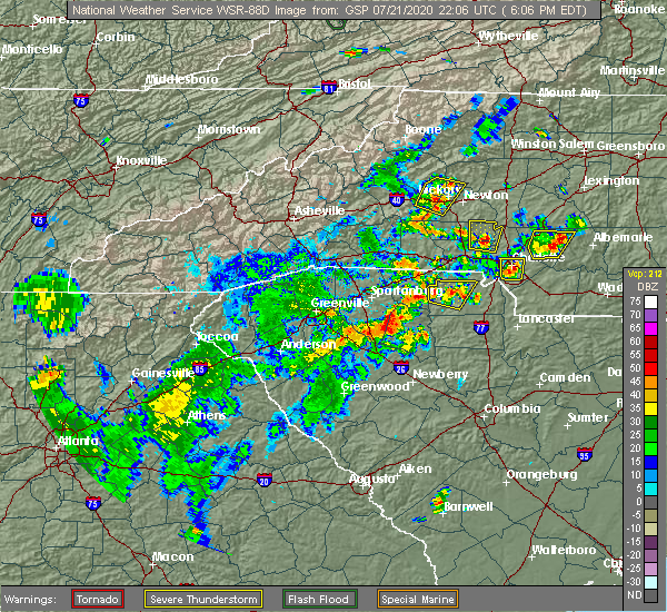 Radar Image for Severe Thunderstorms near Bethlehem, NC at 7/21/2020 6:11 PM EDT