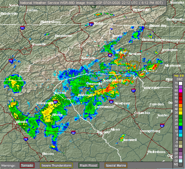 Radar Image for Severe Thunderstorms near Concord, NC at 7/21/2020 6:16 PM EDT