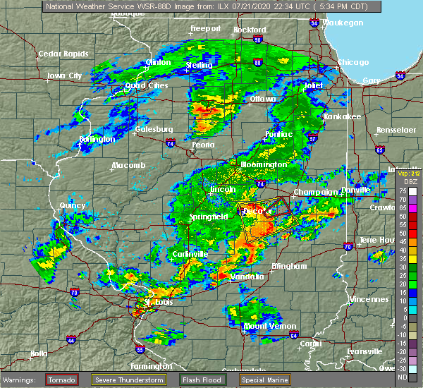 Radar Image for Severe Thunderstorms near Seymour, IL at 7/21/2020 5:40 PM CDT