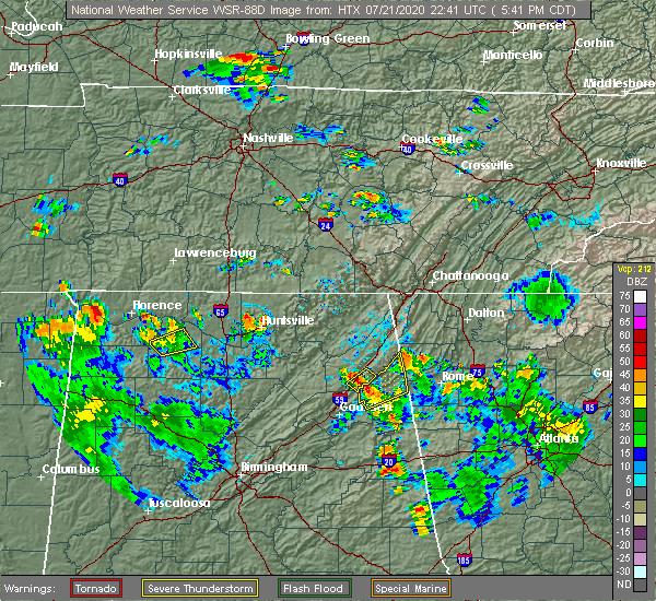 Radar Image for Severe Thunderstorms near Cedar Bluff, AL at 7/21/2020 5:50 PM CDT
