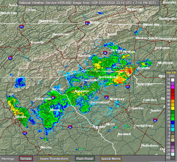 Radar Image for Severe Thunderstorms near Charlotte, NC at 7/21/2020 7:20 PM EDT