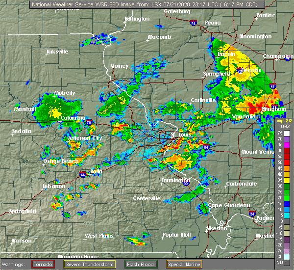 Radar Image for Severe Thunderstorms near Hillsboro, MO at 7/21/2020 6:21 PM CDT