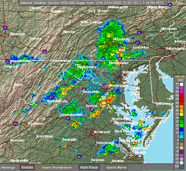 Radar Image for Severe Thunderstorms near Long Beach, MD at 7/21/2020 7:47 PM EDT