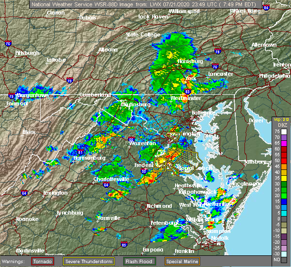 Radar Image for Severe Thunderstorms near Mount Rainier, MD at 7/21/2020 7:51 PM EDT