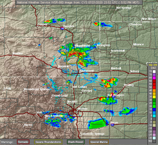 Radar Image for Severe Thunderstorms near Slater, WY at 7/21/2020 5:56 PM MDT