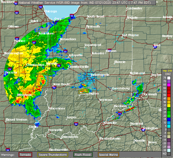 Radar Image for Severe Thunderstorms near Paris, IL at 7/21/2020 6:58 PM CDT