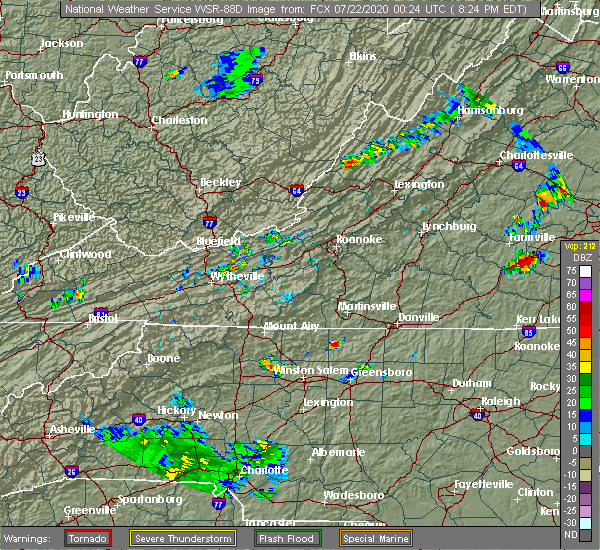 Radar Image for Severe Thunderstorms near Reidsville, NC at 7/21/2020 8:31 PM EDT