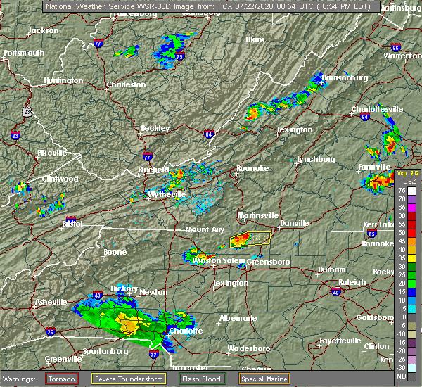 Radar Image for Severe Thunderstorms near Reidsville, NC at 7/21/2020 8:57 PM EDT