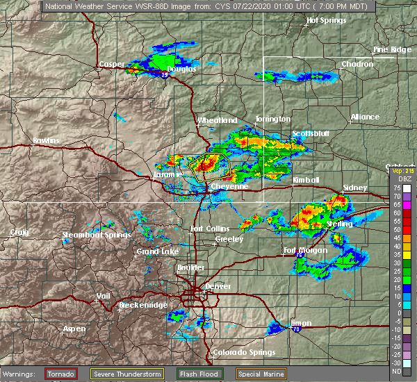Radar Image for Severe Thunderstorms near Hillsdale, WY at 7/21/2020 7:06 PM MDT