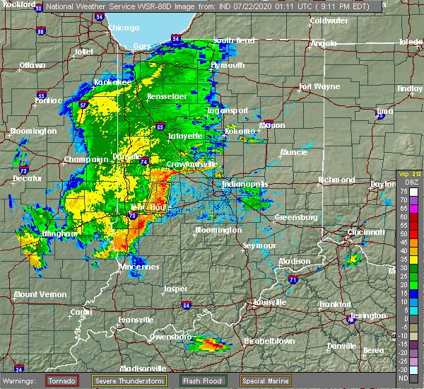 Radar Image for Severe Thunderstorms near Greencastle, IN at 7/21/2020 9:18 PM EDT